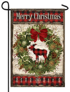 Plaid Christmas Moose Garden Flag