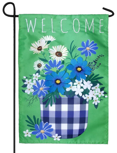 Plaid Flower Pot Applique Garden Flag