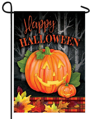 Plaid Halloween Jack Garden Flag