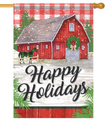 Plaid Holiday Farm House Flag