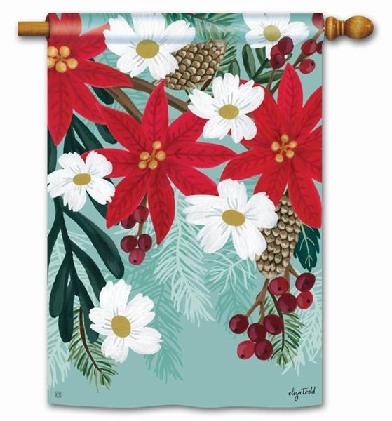 Poinsettia Bloom House Flag