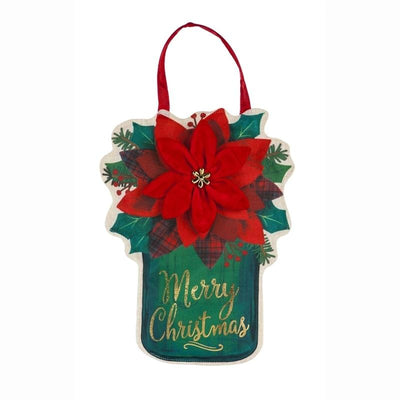 Poinsettia Mason Jar Decorative Door Hanger