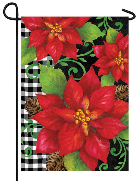 Poinsettias and Gingham Garden Flag