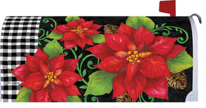 Poinsettias and Gingham Mailbox Cover