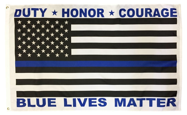 Police Blue Lives Matter Black and White American Flag 3x5
