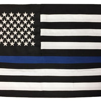 Police Thin Blue Line Black and White American 2-Ply Polyester 12x18 Boat Flag