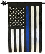 Police Thin Blue Line Black and White American Applique House Flag