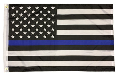 Police Thin Blue Line Black and White American Flag 2x3