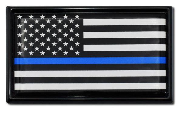 Police Thin Blue Line Black and White American Flag Black Car Emblem