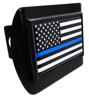 Police Thin Blue Line Black American Flag Black Hitch Cover