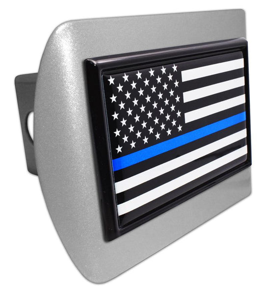 Police Thin Blue Line Black and White American Flag Brushed USA Hitch Cover