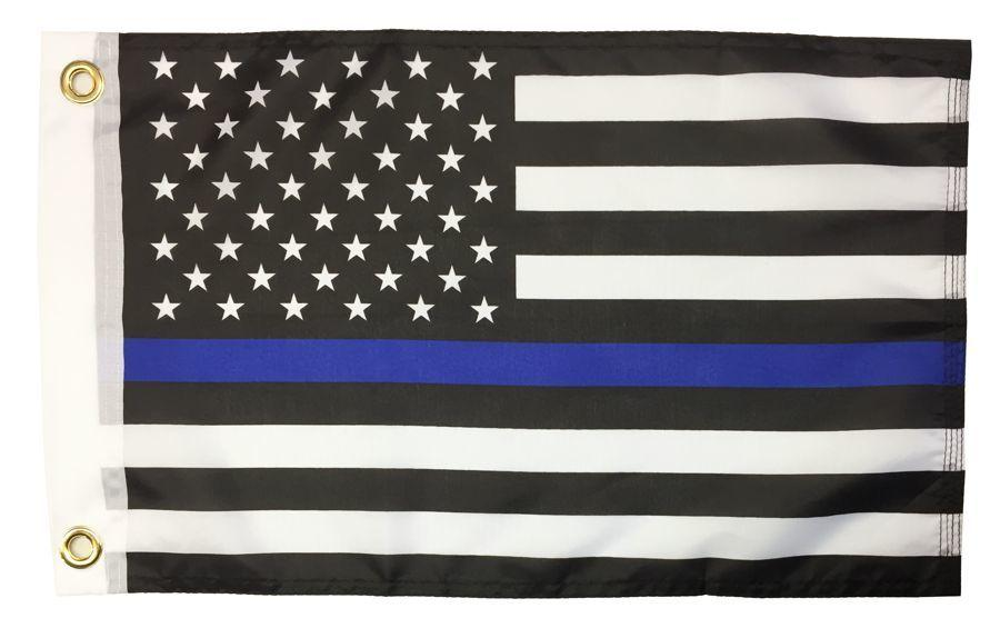 Police Thin Blue Line Black and White American Printed Polyester 12x18 Boat Flag
