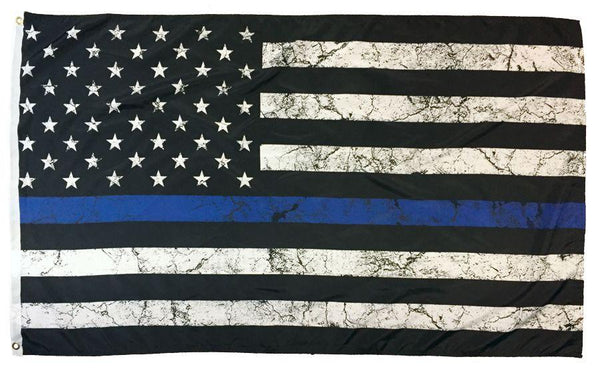 Police Thin Blue Line Distressed Finish American Flag 3x5