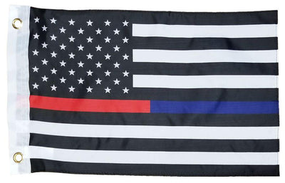 Police and Firefighter Black and White American 12x18 Boat Flag