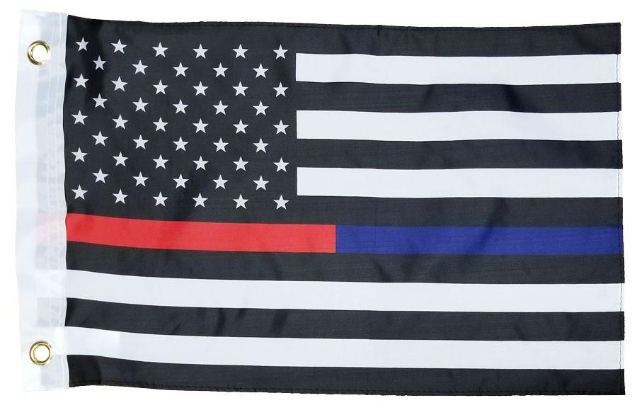 Police and Firefighter Black and White American 12x18 Boat Flag - I AmEricas Flags
