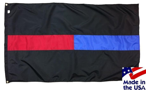 Police and Firefighter Red and Blue Line Flag 3x5 Sewn Nylon
