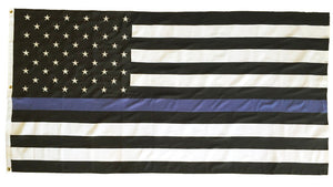 Police Thin Blue Line Black and White American Flag 5 x 9.5 2-Ply Polyester