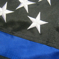 Police Thin Blue Line Black and White American House Flag 2-Ply Polyester