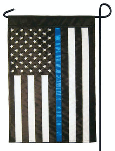 Police Thin Blue Line Black and White American Double Applique Garden Flag - Police | Firefighter | EMS/Police Thin Blue Line Flags - I AmEricas Flags