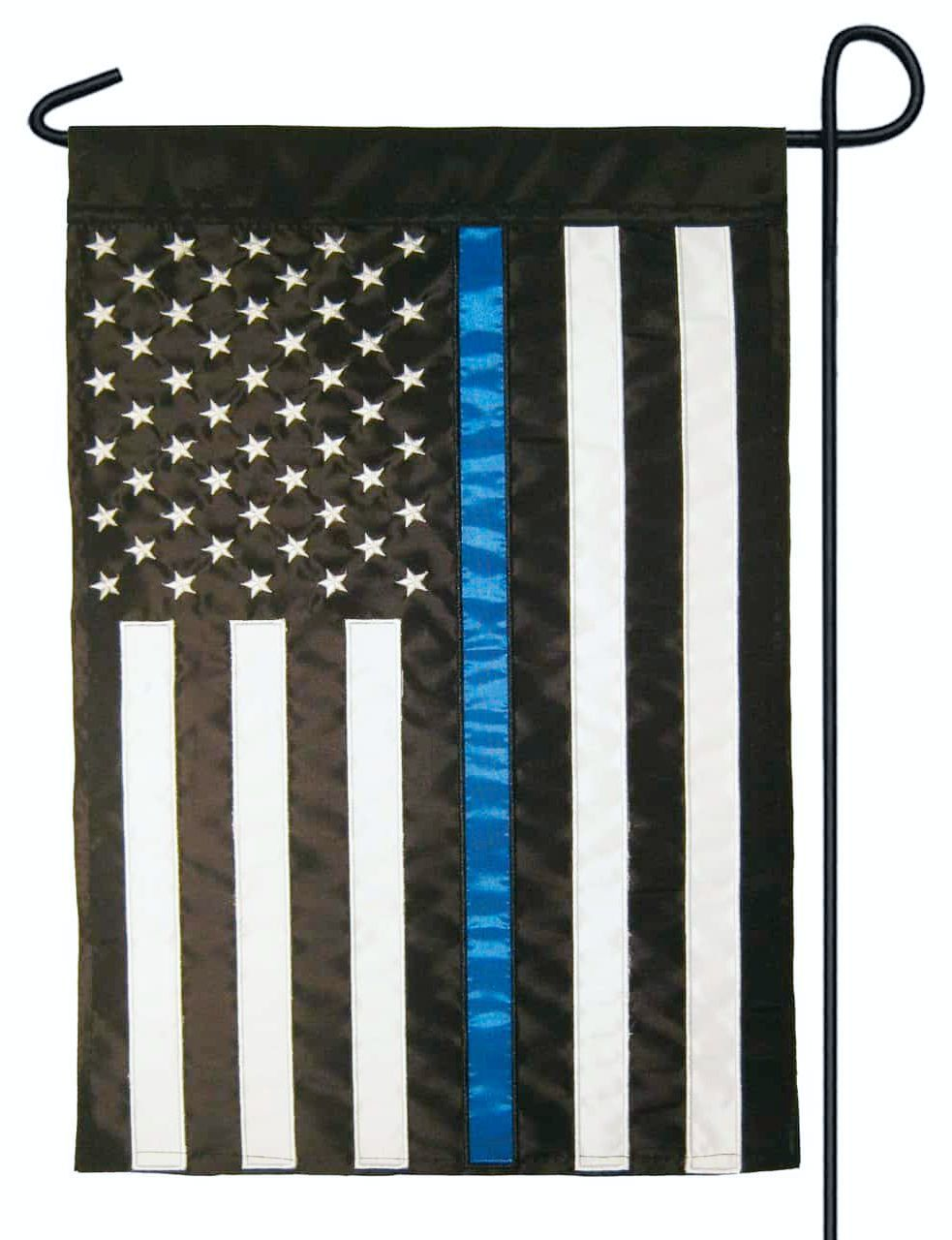 Police Thin Blue Line Black and White American Double Applique Garden Flag