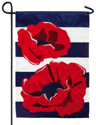 Poppies and Navy Stripes Applique Garden Flag