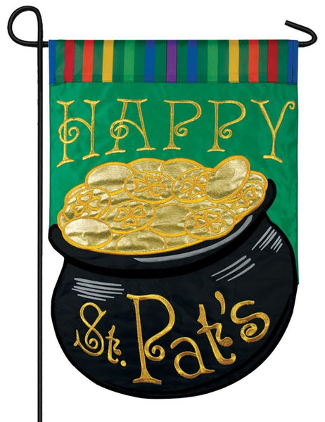 Pot O' Gold Rainbow Double Applique Garden Flag