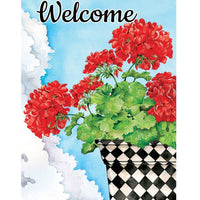 Potted Geraniums House Flag