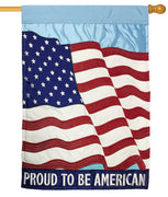 Proud To Be American Double Applique House Flag
