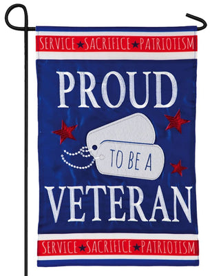 Proud Veteran Applique Garden Flag