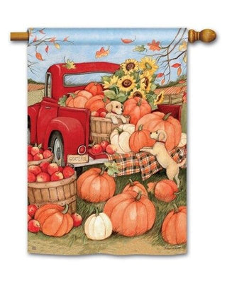 Pumpkin Delivery Pickup Truck House Flag