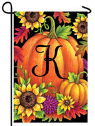 Pumpkin Sunflowers Letter K Monogram Garden Flag
