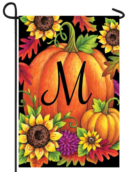 Pumpkin Sunflowers Letter M Monogram Garden Flag - All Decorative Flags/Monogram Flags - I AmEricas Flags