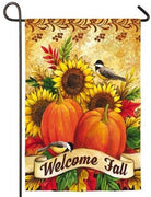 Pumpkins Sunflowers and Chickadees Suede Reflections Garden Flag