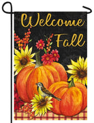 Pumpkins and Sunflowers Suede Reflections Garden Flag