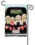 Pupy Love Pickup Truck Garden Flag