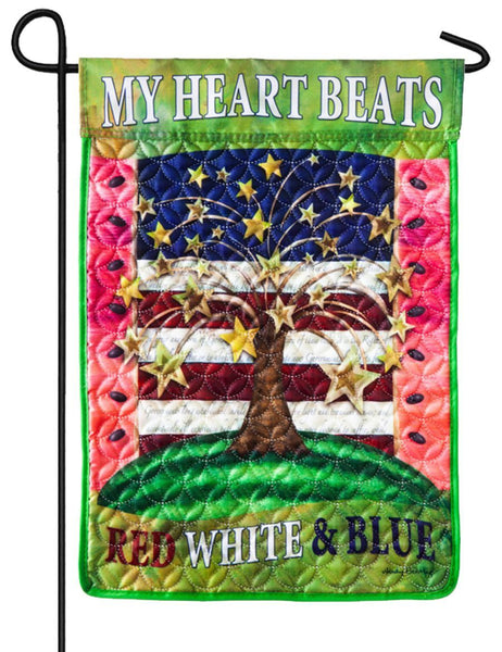 Quilted American Heartbeat Wreath Garden Flag