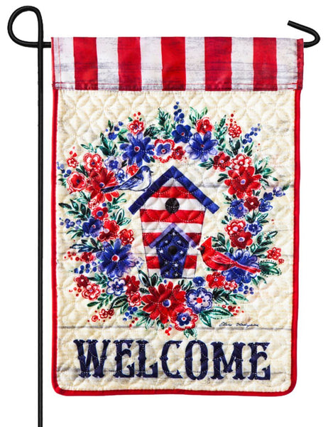Quilted Patriotic Birdhouse Wreath Garden Flag
