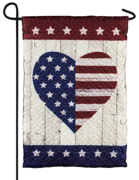 Quilted Patriotic Heart Decorative Garden Flag