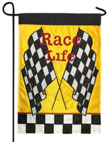 Race Life Black and White Checkered Double Applique Garden Flag
