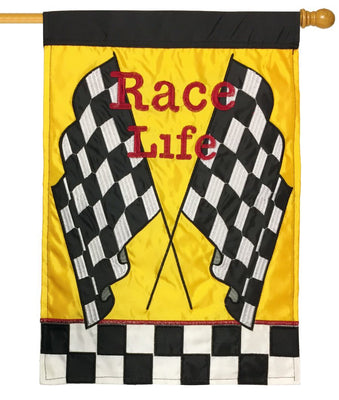 Race Life Black and White Checkered Double Applique House Flag