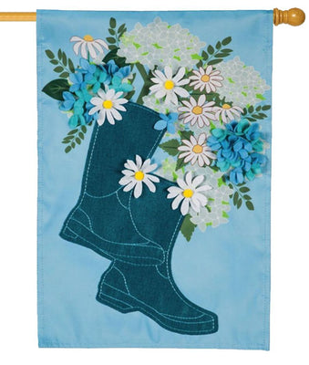 Rain Boot Bouquet Applique House Flag