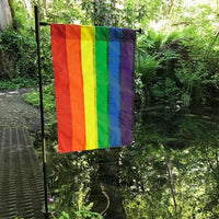 Rainbow Applique Garden Flag Live