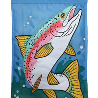 Rainbow Trout Double Applique House Flag - All Decorative Flags/Themes/Camping Outdoor Lake Fishing Flags - I AmEricas Flags