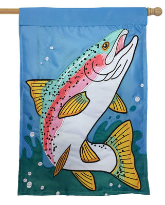 Rainbow Trout Double Applique House Flag