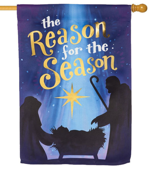 Reason for the Season Embellished Suede House Flag - All Decorative Flags/Holidays/Christmas Flags - I AmEricas Flags