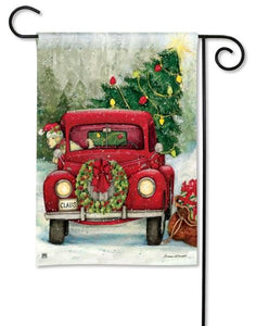 Red Christmas Pickup Truck Garden Flag