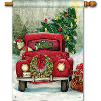 Red Christmas Pickup Truck House Flag