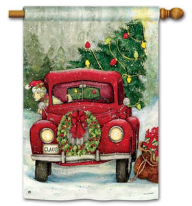 Red Christmas Pickup Truck House Flag - All Decorative Flags/Holidays/Christmas Flags - I AmEricas Flags