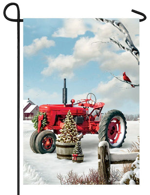 Red Christmas Tractor Garden Flag