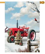Red Christmas Tractor House Flag